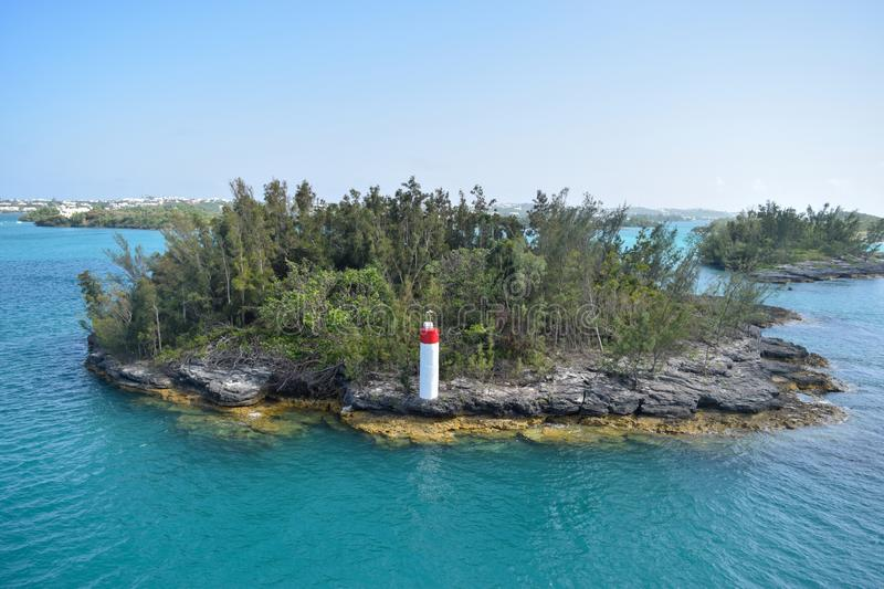 Tiny island off the coast of Hamilton Bermuda. This is a photo of a tiny island off the coast of Hamilton Bermuda which  we sailed by on our way to the city stock photo