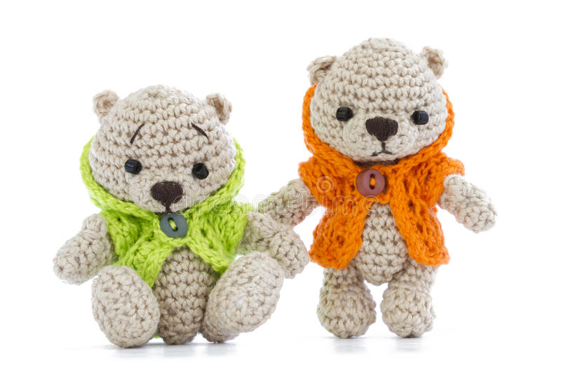Tiny knitted toys stock image