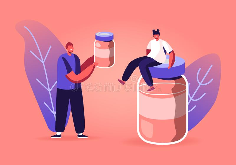 Tiny Male and Female Characters Treatment and Vaccination Concept. Boy Holding Flask with Drug in Hands. Girl Sitting on Huge Glass Bottle with Medicine or vector illustration