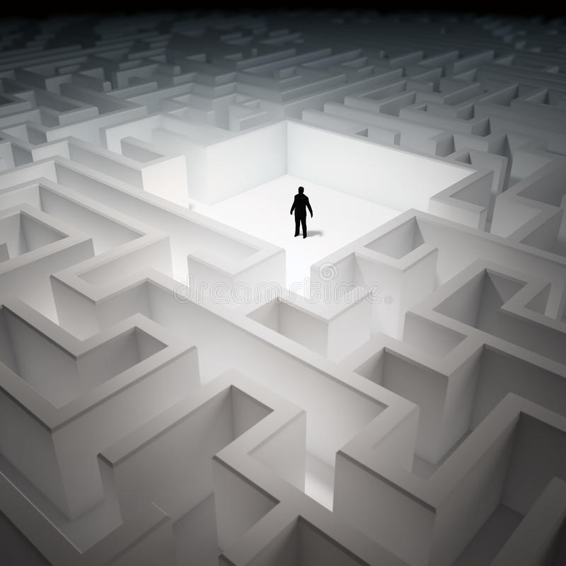 Tiny man in an endless maze royalty free illustration