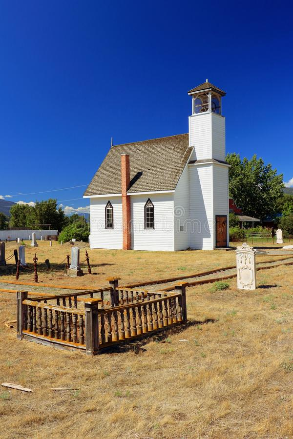 Little Historic Church in Nicola, Nicola Valley, British Columbia. The tiny Murray United Church, built in 1876, is one of the picturesque historic sites in the stock photos