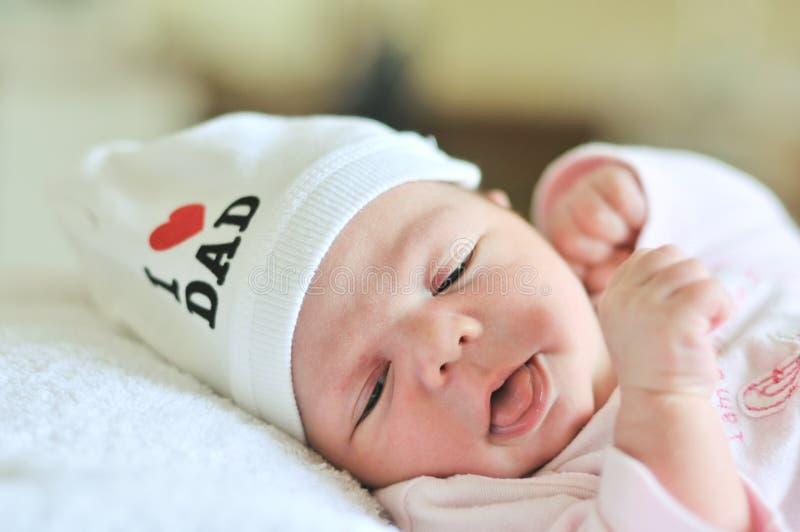 Tiny newborn girl royalty free stock image