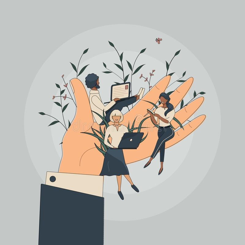 Free Tiny Office Workers Sitting On Huge Hand. Concept Of Good Comfortable Environment At Work, Favorable Psychological Climate,high Royalty Free Stock Images - 214474909