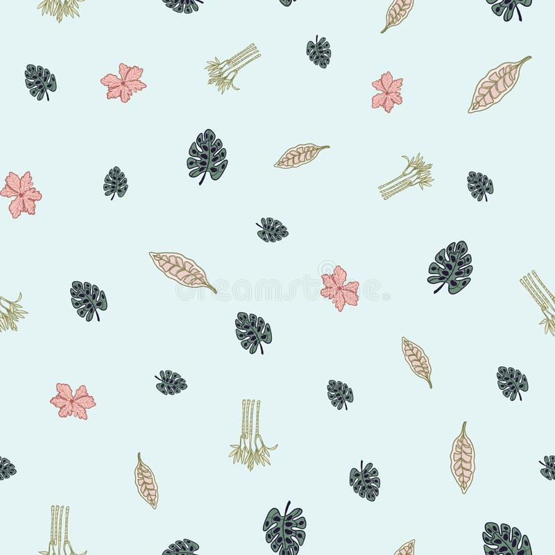 Tiny Palm Paradise Collection on a Soft Turquoise Background Repeat Pattern Vector. A perfect palm print for any surface stock illustration