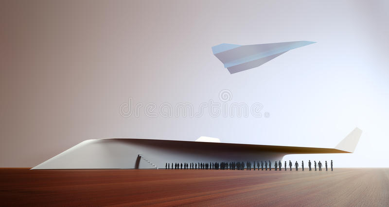 Tiny people boarding a paper plane. Tiny 3D people boarding a paper plane vector illustration