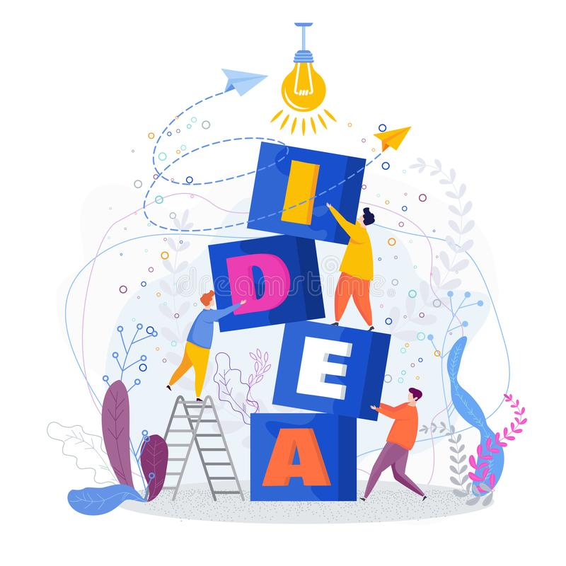 Tiny people build word idea out of blocks. Teamwork creative vector illustration