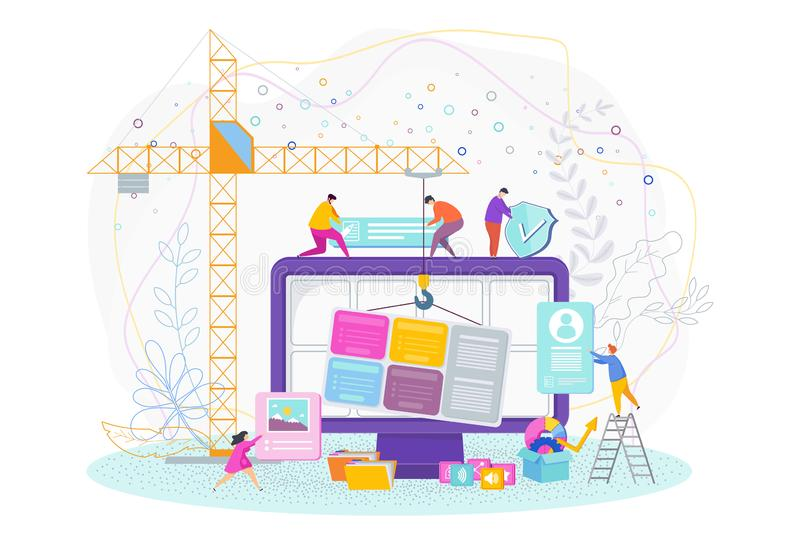 Tiny people are designing a website. Web design, development. vector illustration