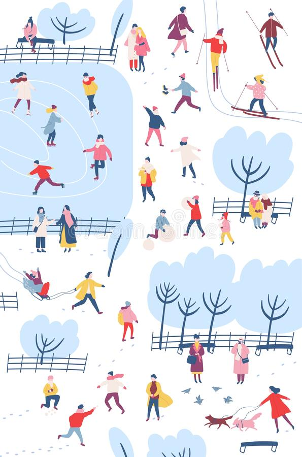 Tiny people dressed in winter clothes or outerwear performing outdoor activities at city park - walking, ice skating royalty free illustration