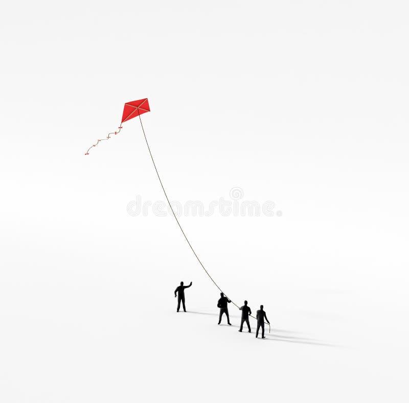 Tiny people holding a kite royalty free illustration