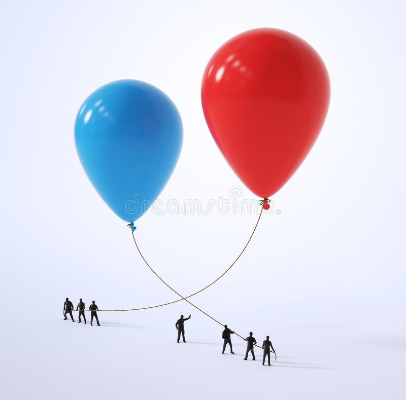 Tiny people holding red and blue balloons stock illustration