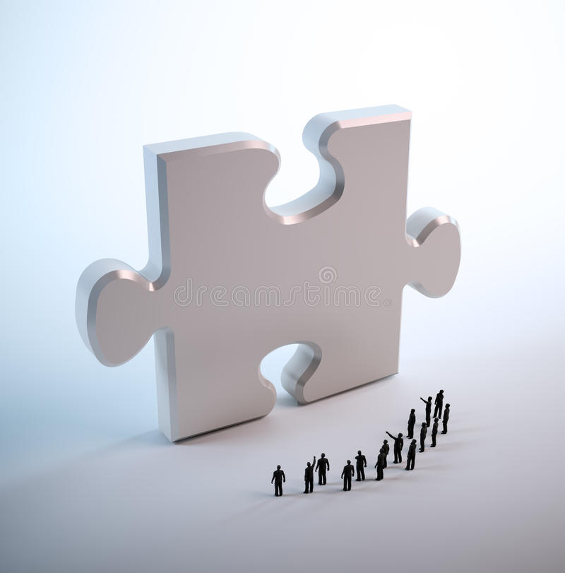 Tiny people looking at a puzzle vector illustration