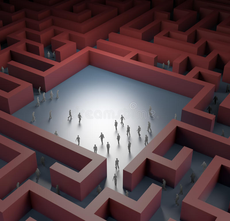 Tiny People Lost In Maze Royalty Free Stock Photos