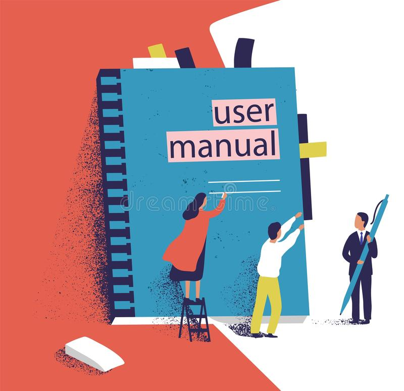Tiny people or managers trying to open giant user manual. Small men and women and large computer software guide or stock illustration