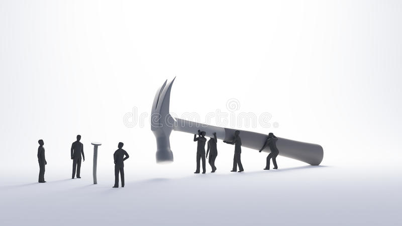 Tiny people problem solving concept royalty free illustration