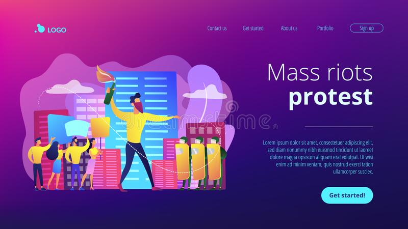 Mass demonstration concept landing page. vector illustration