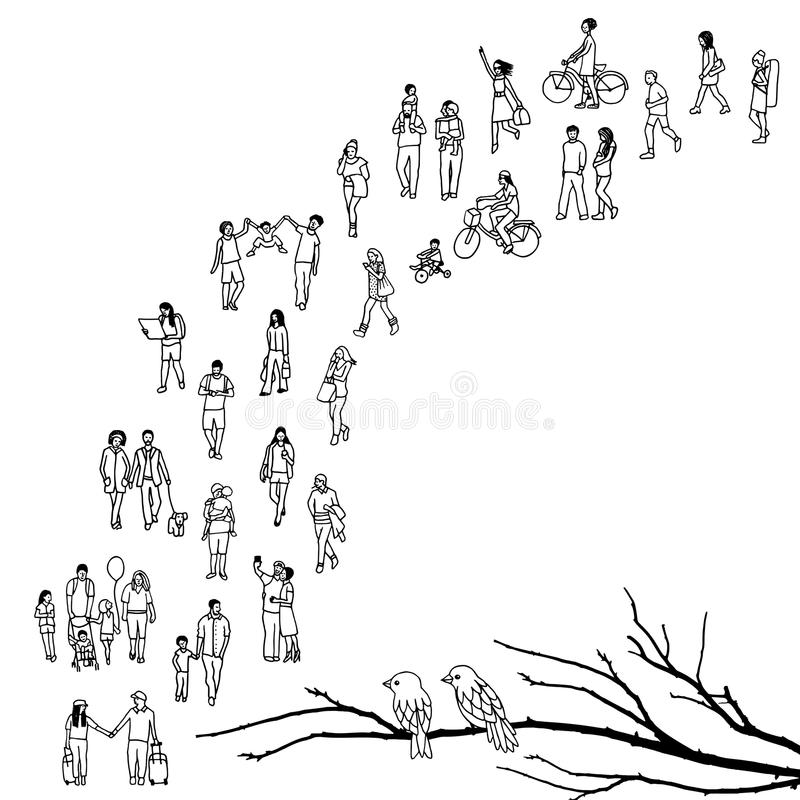 Tiny people queuing royalty free illustration
