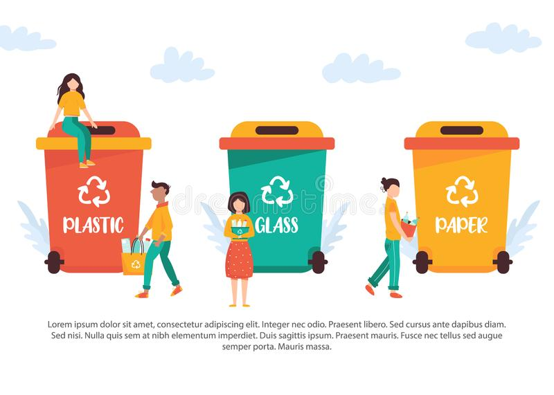 Tiny people recycling garbage. Vector illustration royalty free illustration