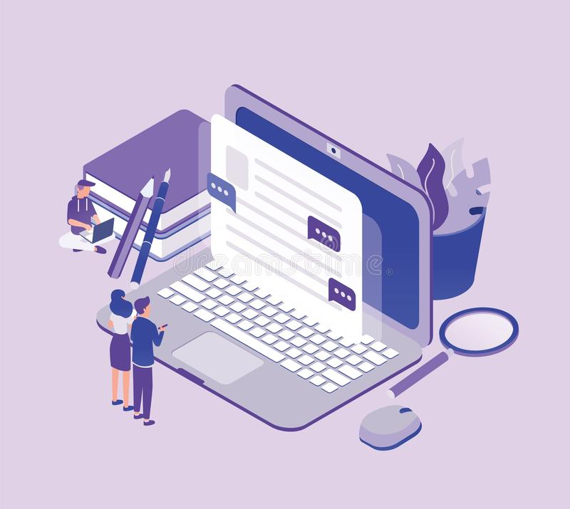 Tiny people standing in front of giant laptop computer and looking at text on screen. Concept of copywriting, digital vector illustration