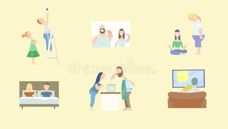 Tiny people together at home set stock illustration