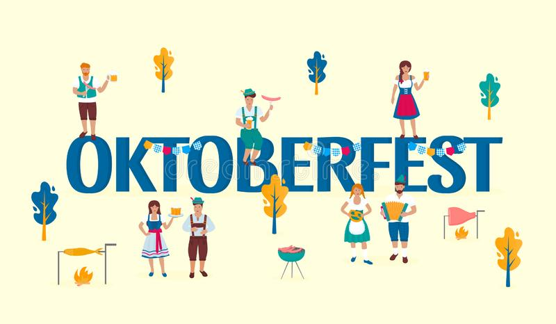 Tiny people in traditional Austrian costumes on the background of a huge inscription Oktoberfest. German folk celebration of the. Great outdoors. Bavarian royalty free illustration