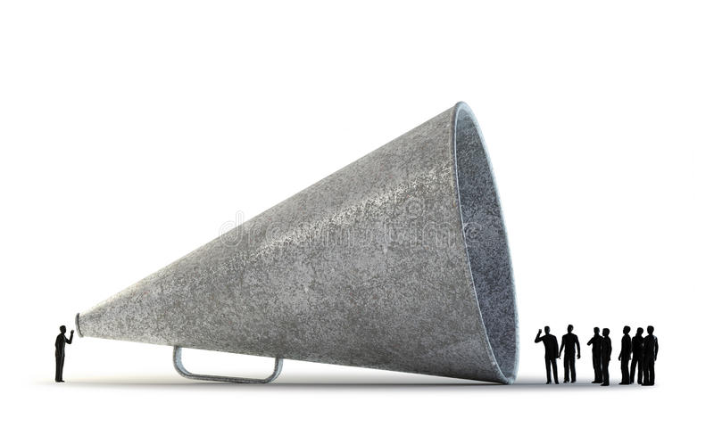 Tiny people using a vintage megaphone royalty free stock photos