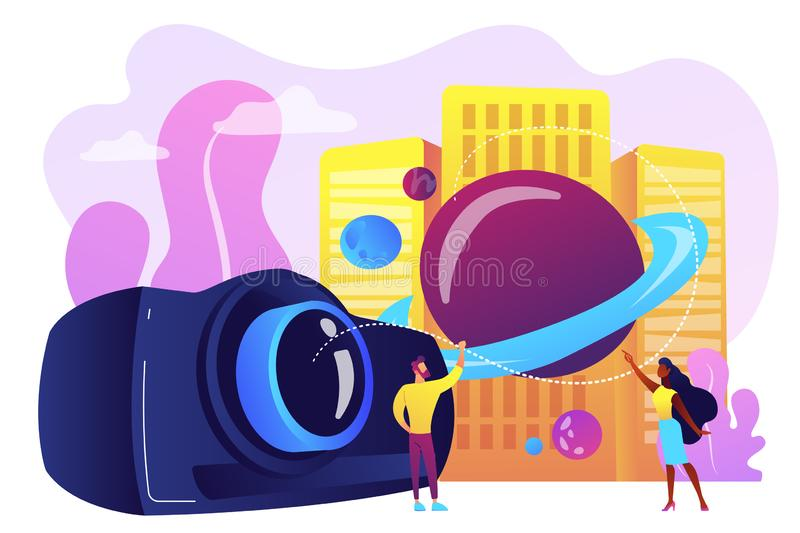 Video design concept vector illustration. Tiny people video designers with camera and film creation and integration. Video design, projection design, scenic vector illustration