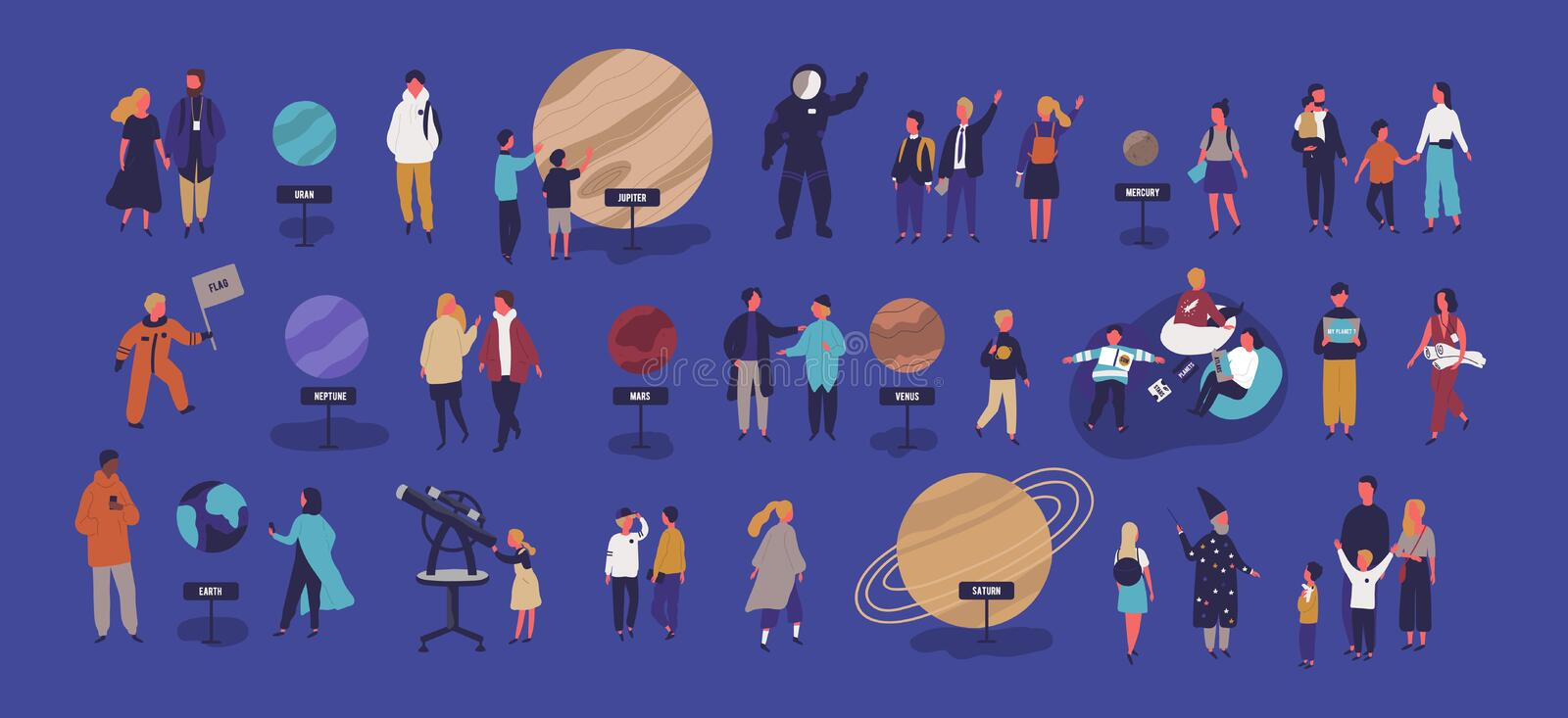 Tiny people visiting planetarium, looking at celestial bodies or space objects, planets of Solar system. Entertainment. For kids and adults. Colorful vector stock illustration