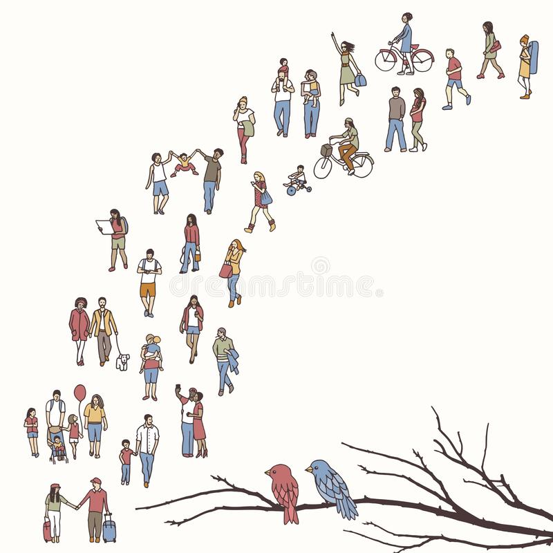 Tiny people walking in a queue stock illustration