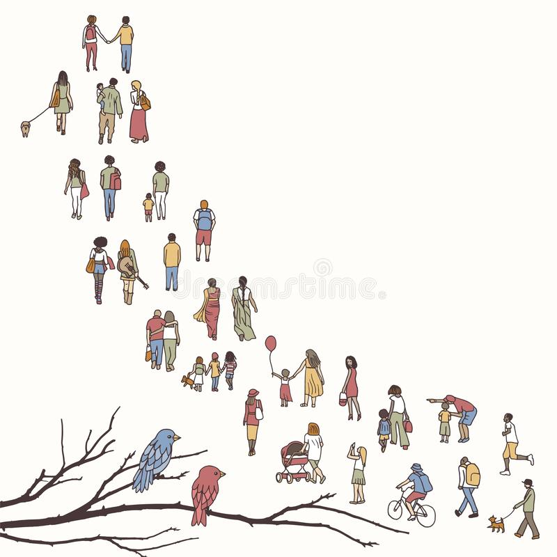 Tiny people walking in a queue royalty free illustration