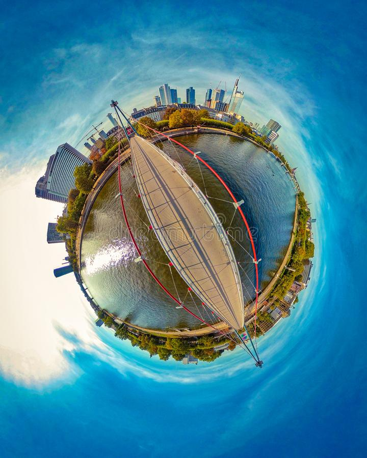 Tiny Planet of Frankfurt am Main stock images