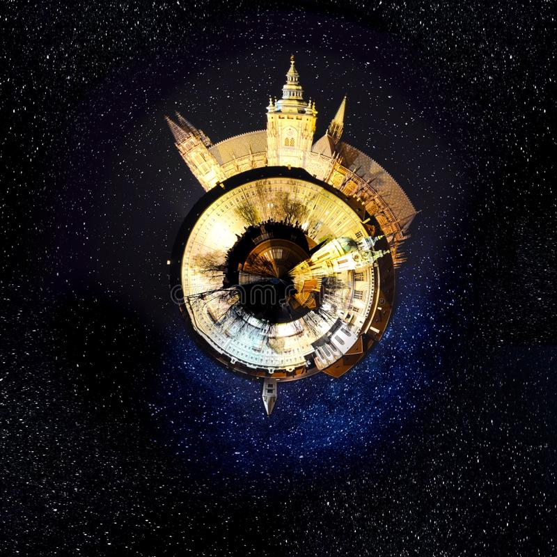 Tiny planet Prague in the star night royalty free stock images