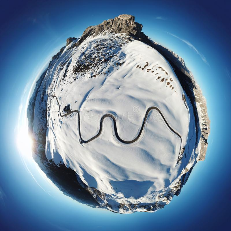 Tiny planet with Ra Gusela peak on top and of mount Averau and Nuvolau, in Passo Giau, high alpine pass near Cortina d`Ampezzo, royalty free stock images