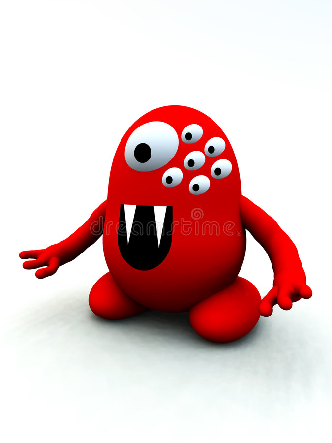 Tiny Red Monster 9 Stock Image