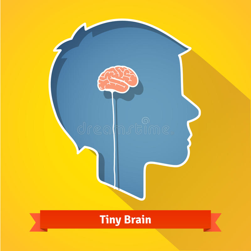 Tiny small underdeveloped or dried up brain. Flat vector icon stock illustration