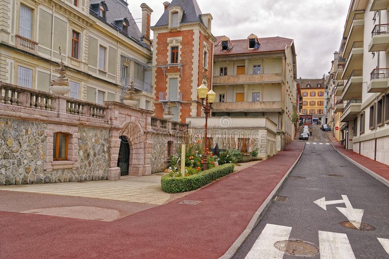 tiny street in evian les bains in france in the new year in wint stock photo image of slope. Black Bedroom Furniture Sets. Home Design Ideas