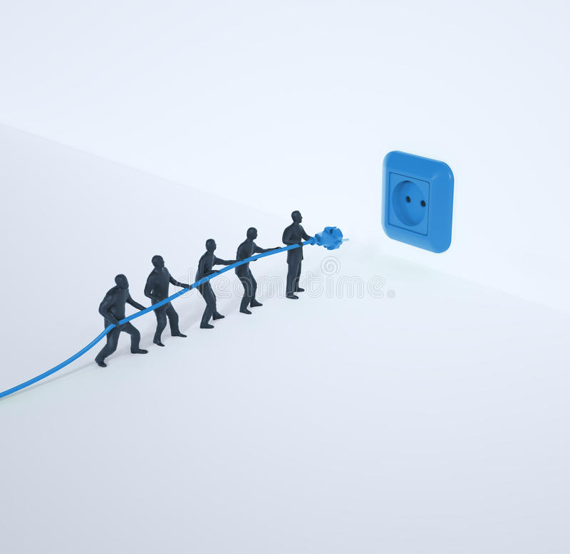 Tiny team of people with a power cord royalty free illustration