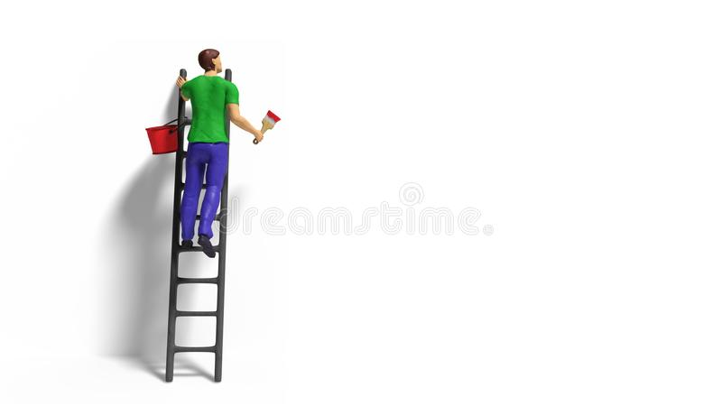 Miniature figurine character with ladder and red paint in front of a wall stock images