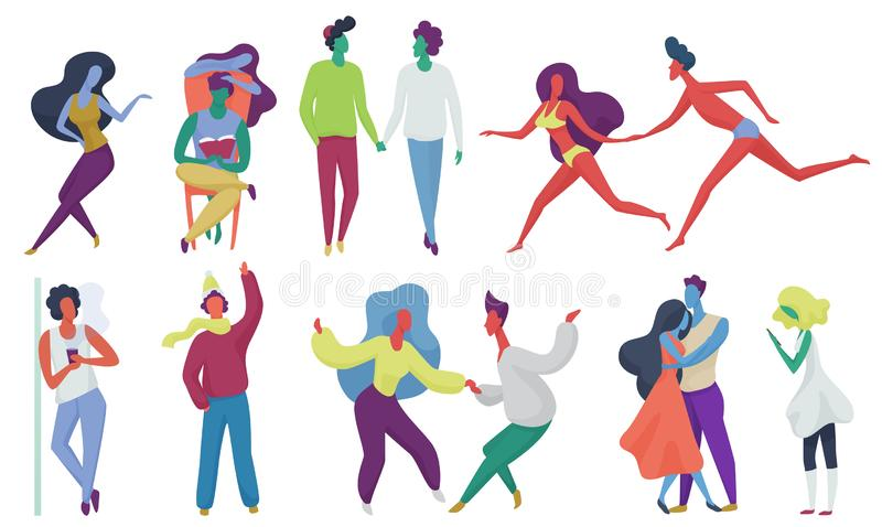Tiny trendy abstract people couples in seasonal clothes. Men and women flat cartoon colorful vector illustration. royalty free illustration