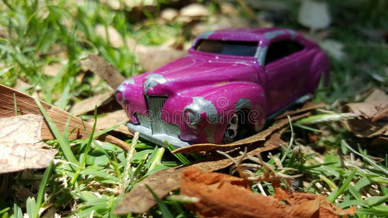 Tiny violet toy car in the park stock images