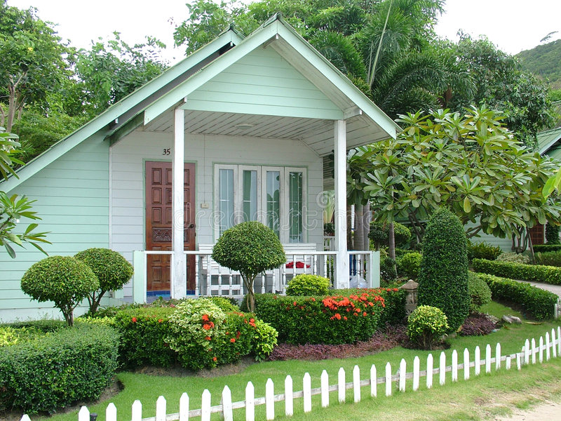 Tiny White Cottage Stock Photo. Image Of Complex, Bungalow