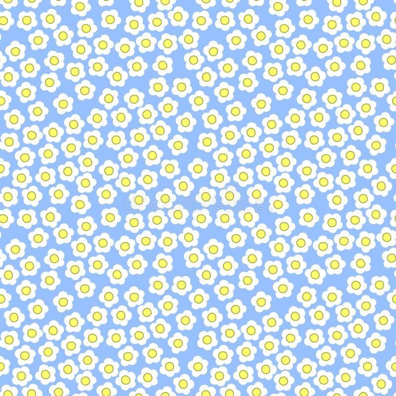 Tiny white flowers on blue background, seamless pattern, millefiori, summer theme stock illustration