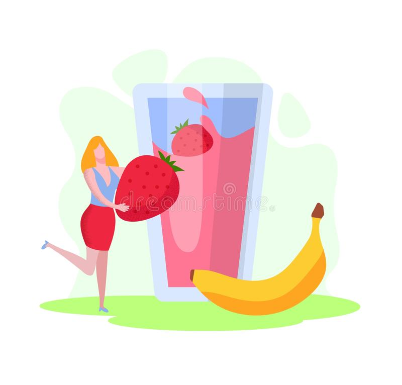 Tiny Woman Put Huge Strawberry and Banana in Glass royalty free illustration