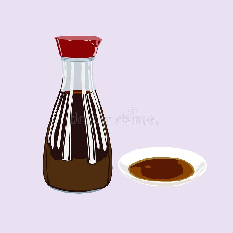 A bottle of soy sauce, poured over on tiny white plate icon logo avatar royalty free illustration