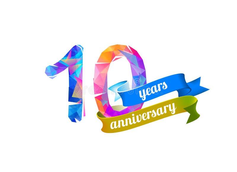10 tio år årsdag royaltyfri illustrationer