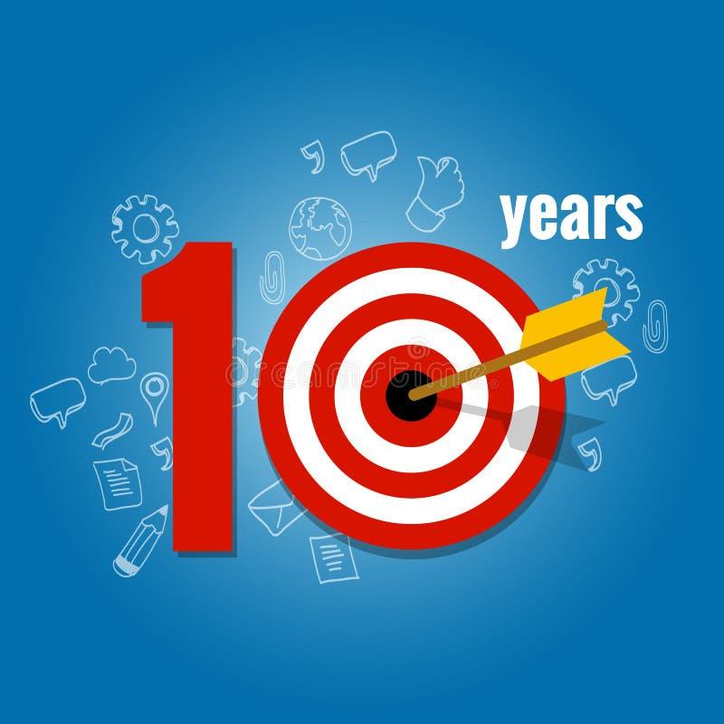 Tio år uppsätta som mål och planerar i affärskalenderlista av prestationen royaltyfri illustrationer