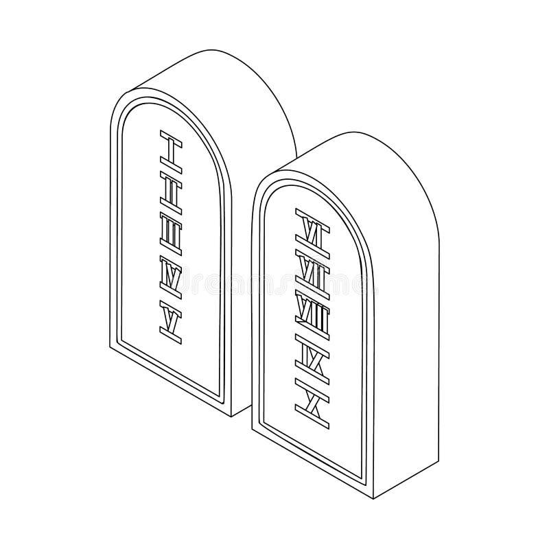 Tio commandments, isometrisk symbol 3d royaltyfri illustrationer