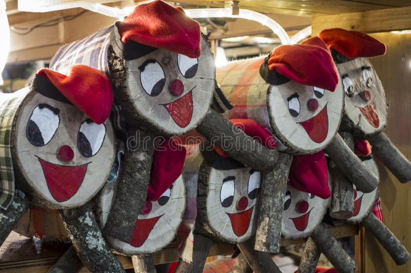 Tio de Nadal, a traditional Christmas symbol of Catalonia, Spain. Christmas decorations on the Santa Llucia market in Barcelona stock photography