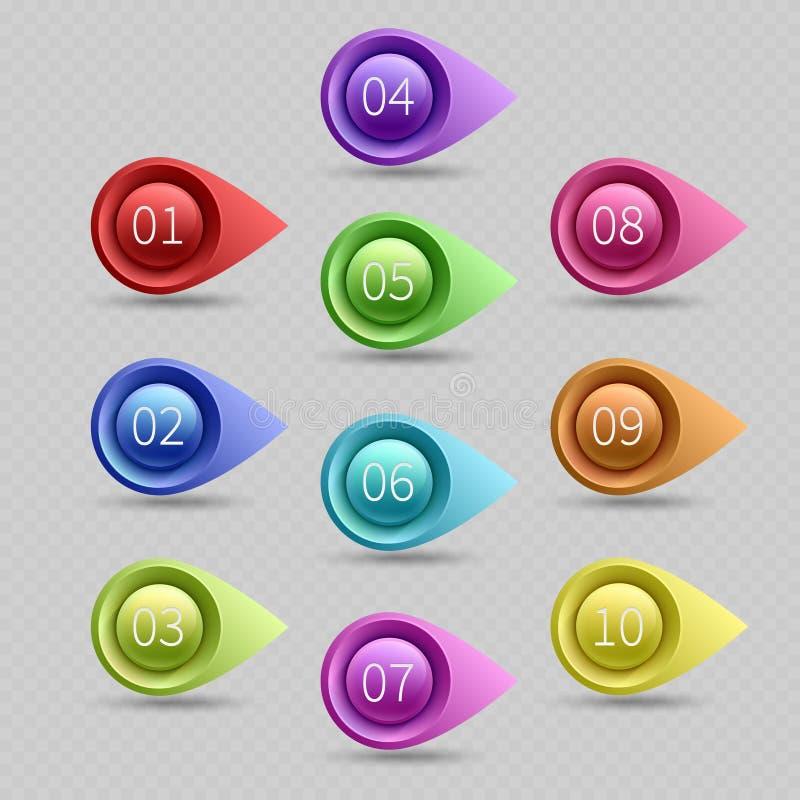Tio färgkulpunkter med nummervektorsamlingen royaltyfri illustrationer