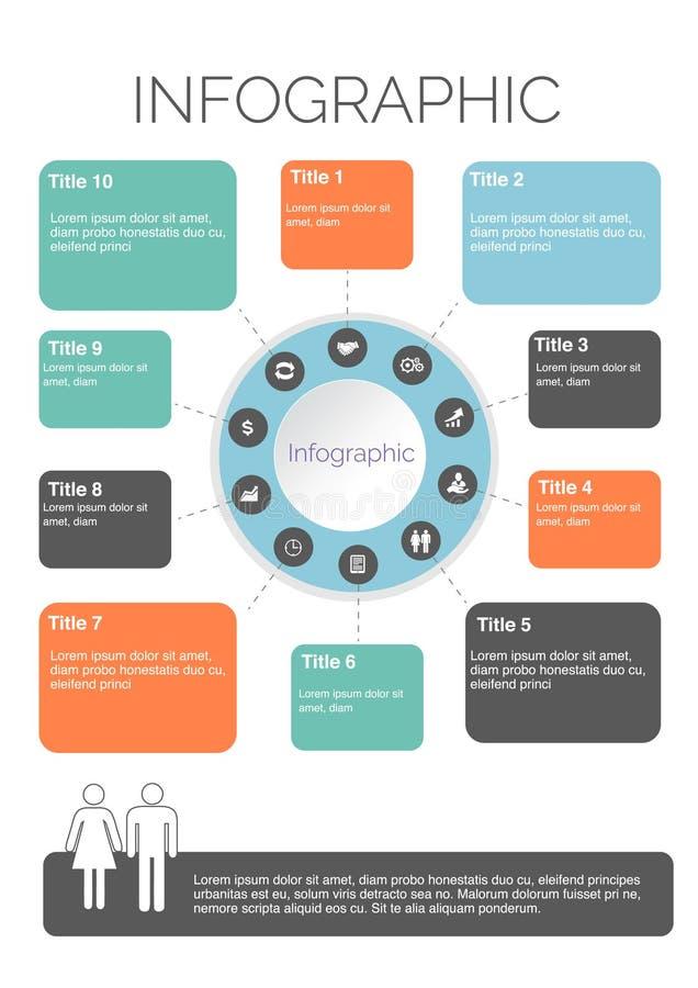 Tio fyrkantiga Infographics som är färgrik med symbolsdesign royaltyfri illustrationer