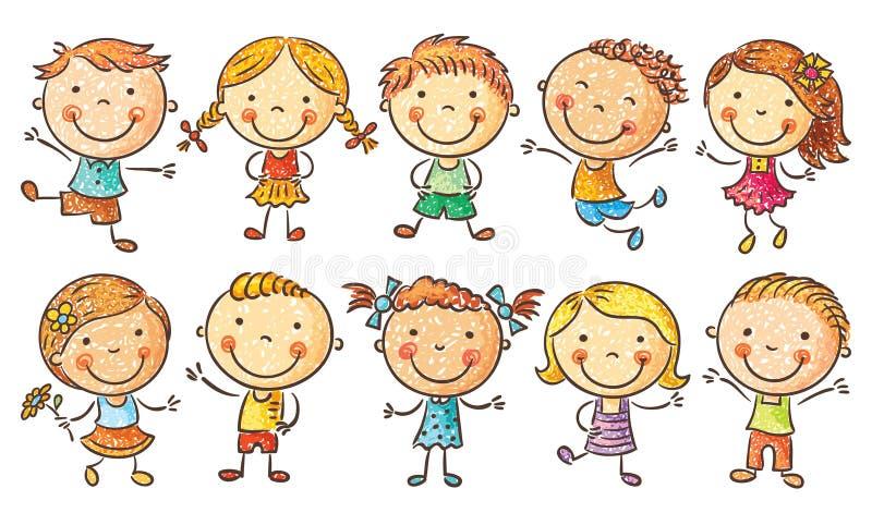Tio lyckliga tecknad filmungar royaltyfri illustrationer